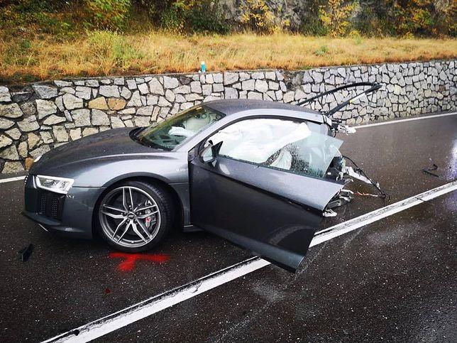 Audi r8 w wyniku kolizji zostało rozerwane na pół