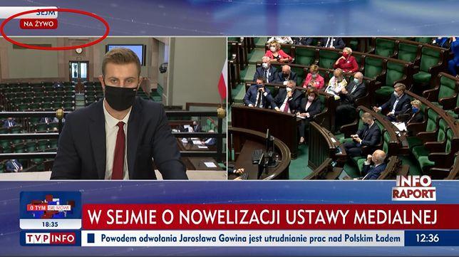 Miłosz Kłeczek bardziej komentował niż relacjonował dla widzów TVP Info sejmową dyskusję ws. Lex TVN