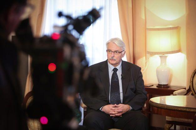 Witold Waszczykowski udziela wywiadu włoskiej telewizji w Ambasadzie RP w Rzymie