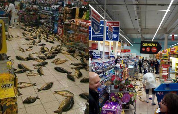 Żywe karpie na podłodze sklepu. Zdjęcie z Tesco wywołało lawinę oburzenia
