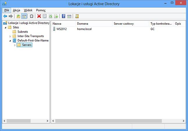 Lokacje i usługi Active Directory