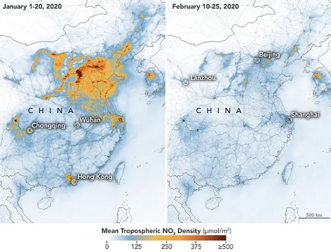NASA przedstawia na zdjęciach wpływ koronawirusa na jakość powietrza w Chinach