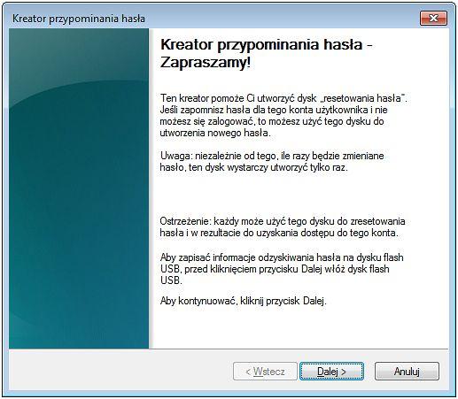 Kreator resetowania hasła pozwoli nam bez większych problemów utworzyć password reset disk