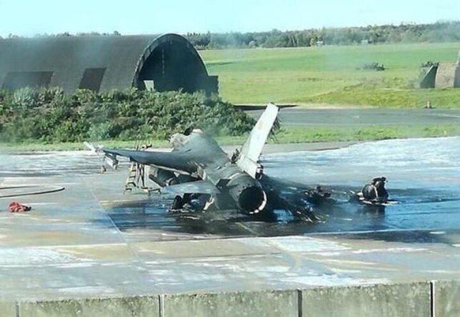 W wyniku wysokiej temperatury sąsiedni F-16 także został uszkodzony