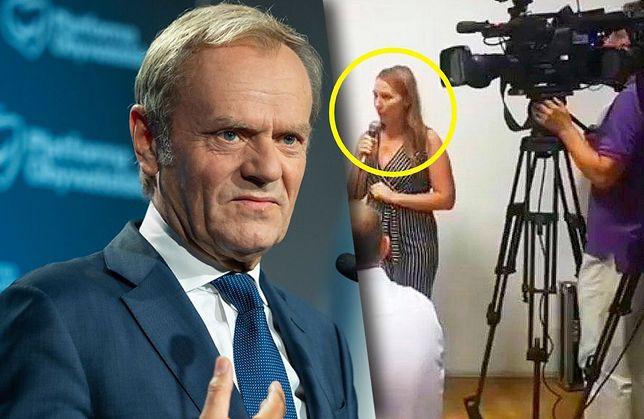 Donald Tusk wrócił do polskiej polityki z przytupem. Z prawej dziennikarka TVP Info, kadr z 2018 roku