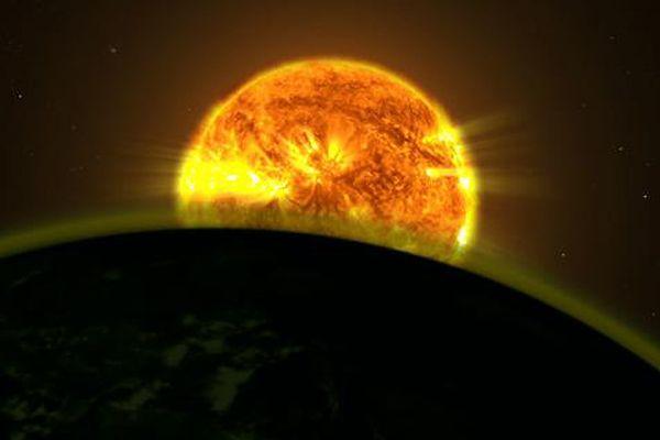 Artystyczna wizja sytuacji, w której światło gwiazdy rozświetla atmosferę planety pozasłonecznej.
