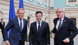 Donald Tusk, Wołodymir Zełenski i Jean-Claude Juncker
