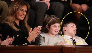Mały chłopiec zasnął na orędziu Donalda Trumpa