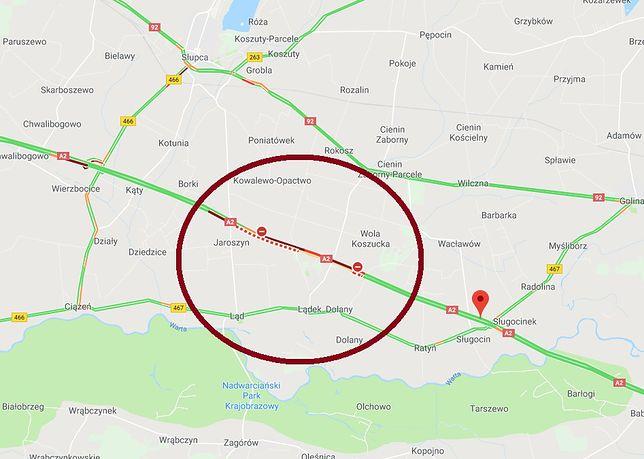A2. Ciężarówka uderzyła w sprzęt pracujący na autostradzie. Tworzą się korki na trasie w kierunku Warszawy