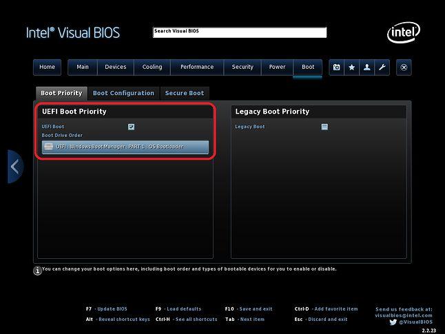 Ustawienia uruchamiania na przykładzie Intel Visual BIOS.