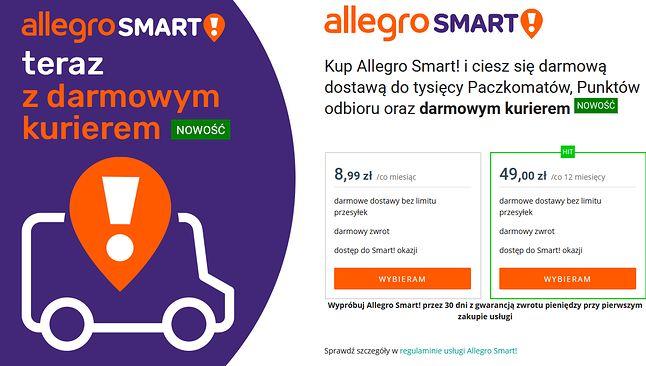 Dwa pakiety i kilka opcji dostawy do wyboru (fot. Allegro)
