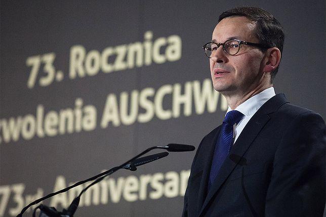Premier Mateusz Morawiecki podczas obchodów 73. rocznicy wyzwolenia Auschwitz.