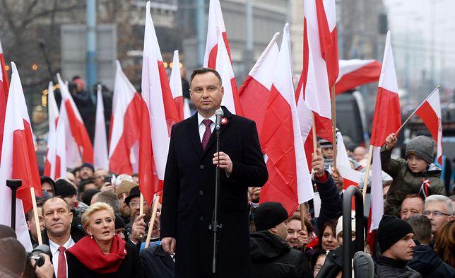 11 listopada 2018 roku. Biało-Czerwony Marsz - Dla Ciebie Polsko. Odbył się pod patronatem Prezydenta RP Andrzeja Dudy i środowisk radykalnych ONR.