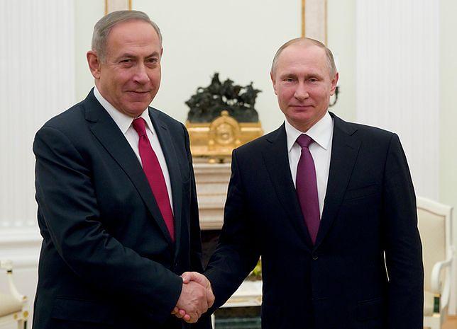 Premier Izraela Benjamin Netanjahu na spotkaniu z prezydentem Rosji, Władimirem Putiem.