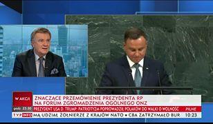 """TVP Info o wystąpieniu prezydenta Andrzeja Dudy w ONZ: """"znaczące""""."""