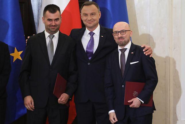 Błażej Spychalski (pierwszy z lewej) został rzecznikiem prezydenta Andrzeja Dudy