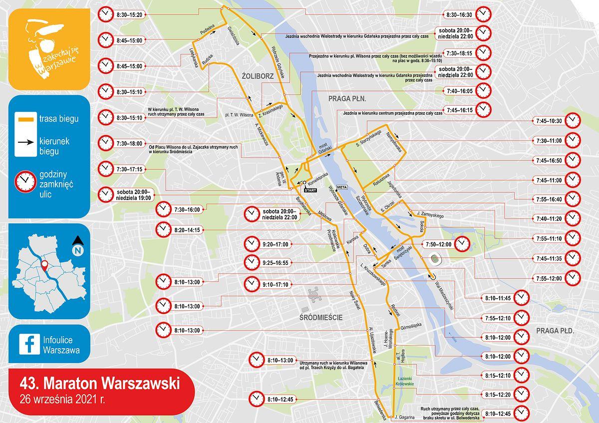 Warszawa. Mapka Maratonu Warszawskiego