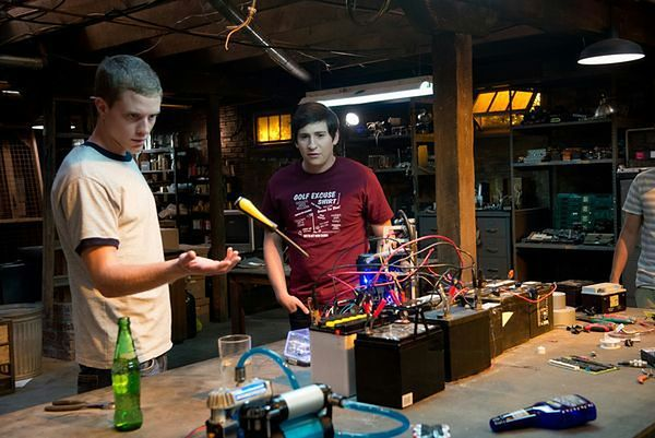 Left to right: Jonny Weston is David Raskin and Sam Lerner is Quinn Goldberg in PROJECT ALMANAC, from Insurge Pictures, in association with Michael Bay.