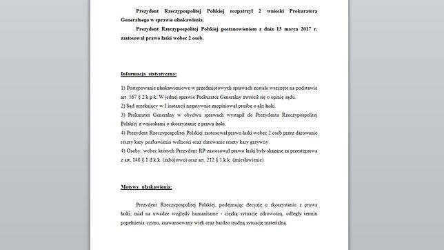 Dokument potwierdzający ułaskawienie zabójców