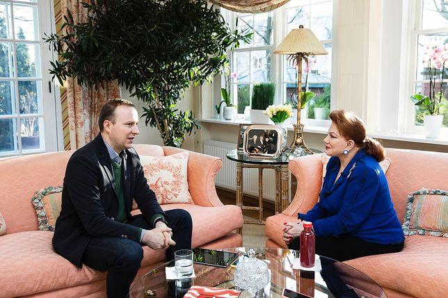 Georgette Mosbacher i Marcin Makowski w trakcie wywiadu