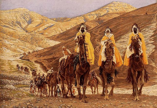 "Obraz Jamesa Tissota ""Podróż magów"" z 1894 r."