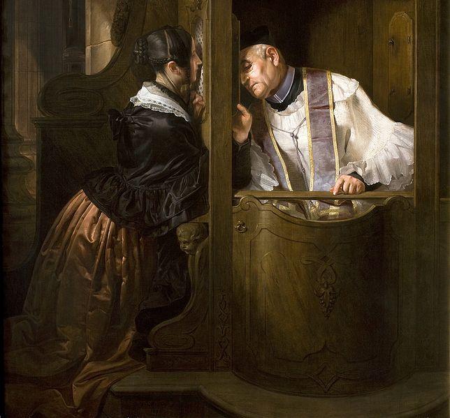 """Obraz """"Spowiedź"""" Giuseppe Molteniego z 1838 r."""