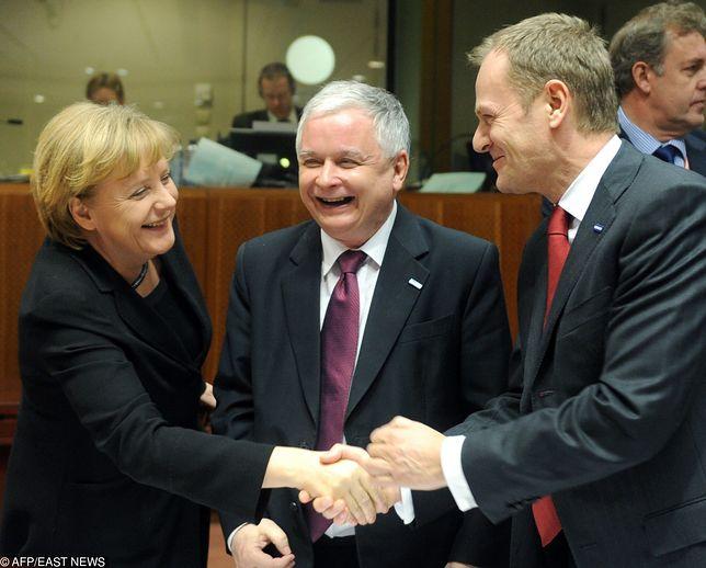 Kanclerz Niemiec Angela Merkel, ś.p. prezydent RP Lech Kaczyński i ówczesny premier RP Donald Tusk, Bruksela, 2009 r.