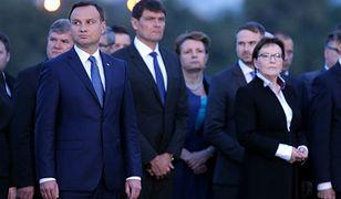Prezydent Andrzej Duda i premier Ewa Kopacz podczas uroczystości na Westerplatte