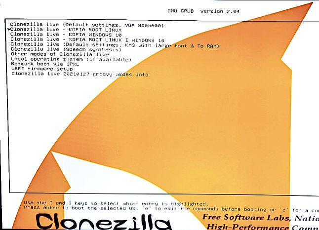 Zmodyfikowane o nowe opcje menu GRUB od Clonezilli
