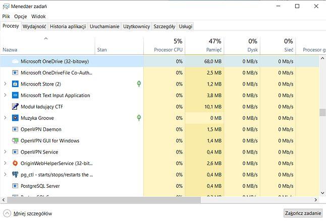 Microsoft OneDrive w Menedżerze zadań (tutaj wciąż 32-bitowy)