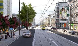 Ulica Dąbrowskiego w Poznaniu z wydzielonym torowiskiem, ale bez drogi rowerowej