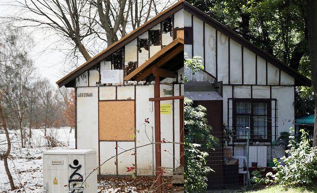 Niszczejący budynek znajduje się na warszawskim Polu Mokotowskim przy ul. Leszowej (po lewej - stan obecny, po prawej - w 2010 roku)