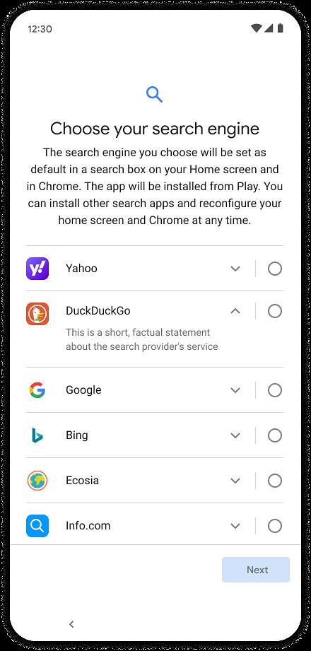 Nowy ekran wyboru wyszukiwarki