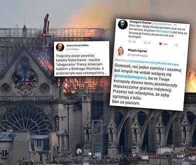 Płonąca katedra Notre Dame i fragmenty dyskusji na polskim Twitterze