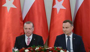 Prezydent Turcji na pożegnalnym obiedzie u Andrzeja Dudy w Pałacu Prezydenckim