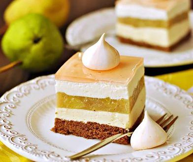 Gruszkowe Słoneczko. Ciasto z gruszkami i kremem waniliowym