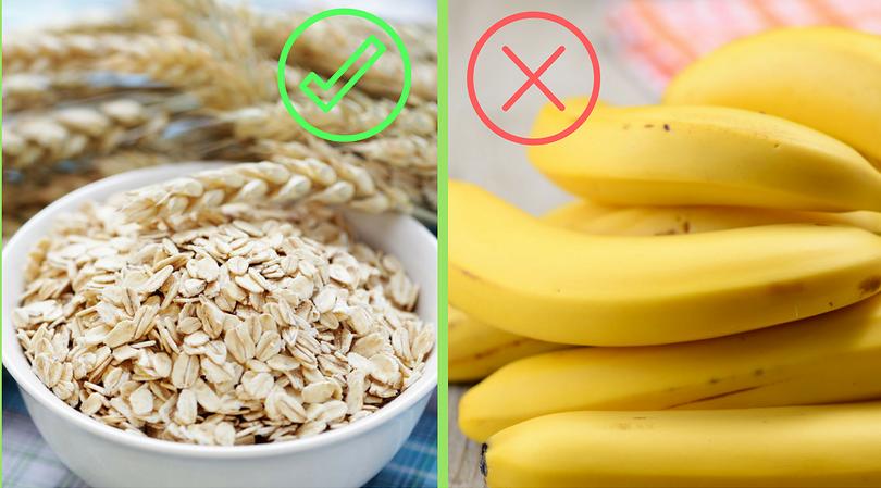 Banany i owsianka na śniadanie