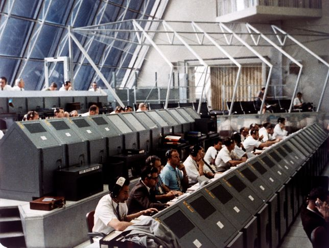 Launch Control Center in the John F Kennedy Space Center, Merritt Island, Florida, USA, July 1969.