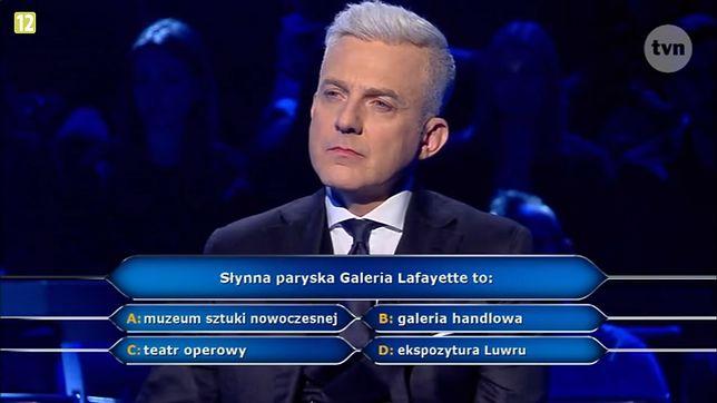 """""""Słynna paryska Galeria Lafayette to…"""": Znamy odpowiedź na pytanie z teleturnieju """"Milionerzy"""""""