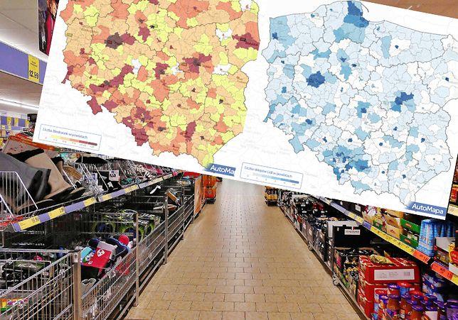 Biedronka (po lewej) rządzi przede wszystkim w dużych miastach - tam zagęszczenie sklepów jest największe