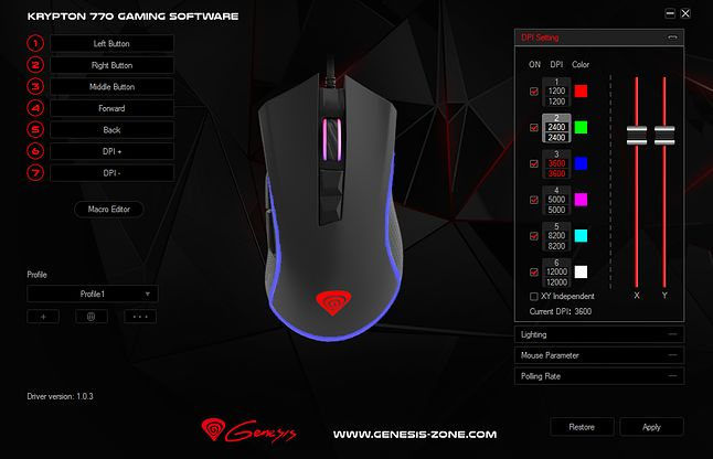 Genesis Krypton 770 Gaming Software