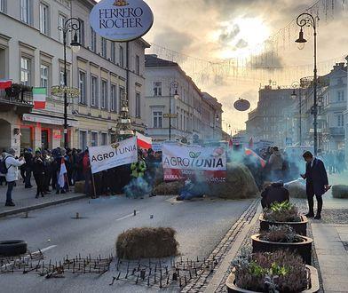 Warszawa. Protest rolników przed siedzibą Polskiego Związku Łowieckiego na Nowym Świecie