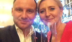 Prezydent Andrzej Duda i Pierwsza Dama podczas sylwestra 2016 r.