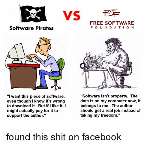 Różnice pomiędzy pirackim a wolnym oprogramowaniem.
