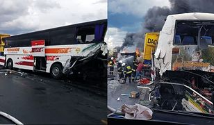 Wypadek na DK1 pod Częstochową. Zderzenie autobusu i ciężarówek. Są ranni (fot. OSP Bogusławice/OSP KSRG Kruszyna)