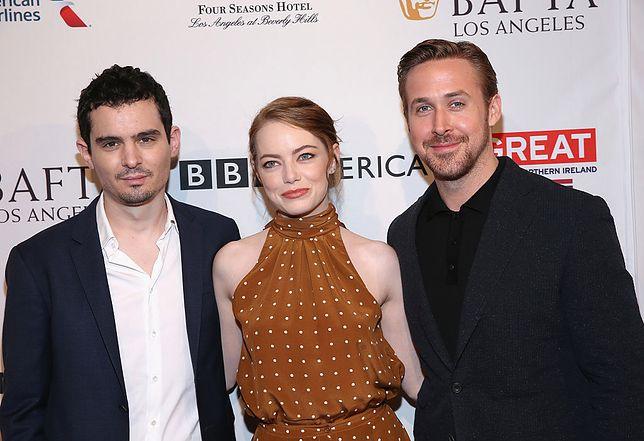 Damien Chazelle, Emma Stone i Ryan Gosling podczas The BAFTA Tea Party