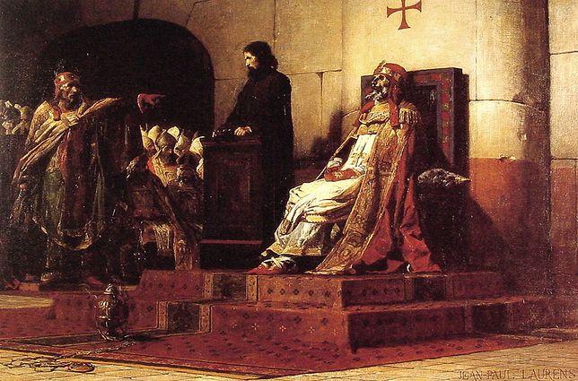 """Obraz """"Papież Formozus i Stefan VI"""" z 1870 r., autorstwa Jean-Paula Laurensa"""