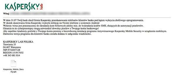 "Uwaga na maile ""od"" Kaspersky Lab"