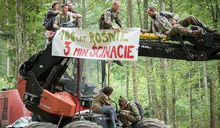 Blokada harwestera w Puszczy Białowieskiej