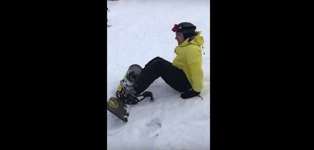 Pokazali, jak wygląda nauka jazdy na snowboardzie. Można umrzeć ze śmiechu